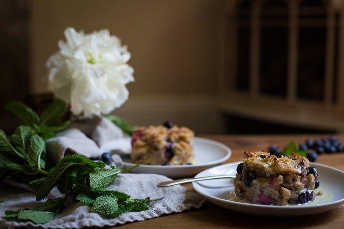 Blueberry Rhubarb Bread Pudding
