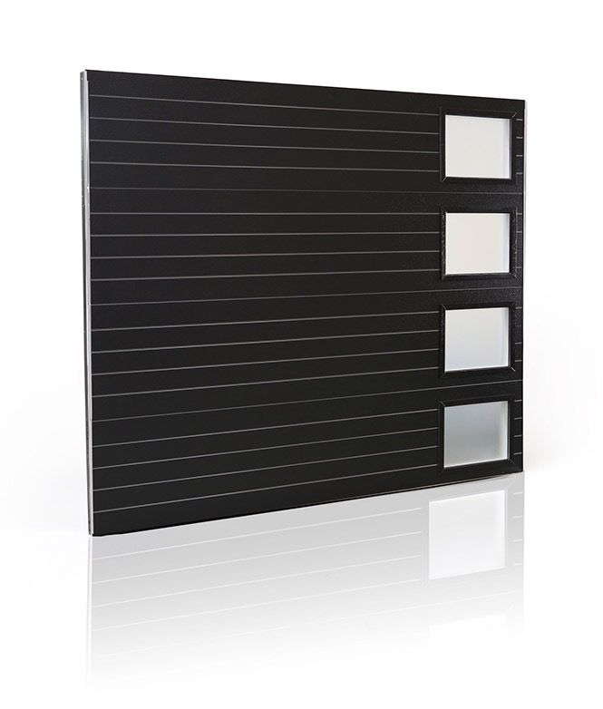 CLOPAY RIBBED PANEL Black GARAGE DOOR WITH FROSTED VERTICAL WINDOWS