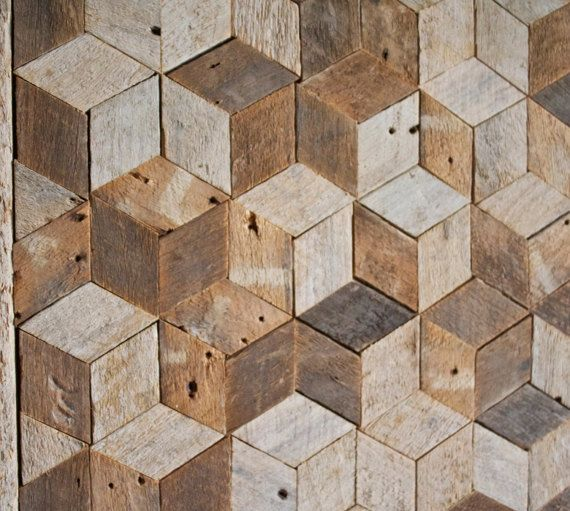 Reclaimed Wood Wall Art, Decor, Pattern, Lath, 3D, Cube, Geometric, Graphic  Pattern