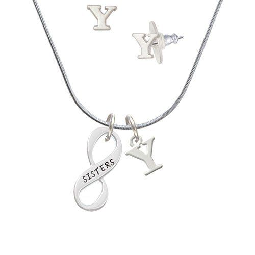 Silvertone Sister Infinity Sign - Y Initial Charm Necklace and Stud Earrings Jewelry Set ** Learn more by visiting the image link. #WomensJewelry