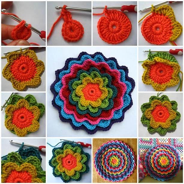 DIY Crochet Blooming Flower Cushion 3