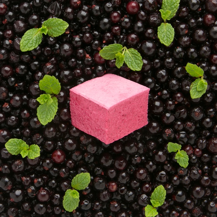 Blackcurrant & Mint marshmallow    The distinctive flavour of blackcurrants with a wisp of mint.    www.themarshmallowists.co.uk