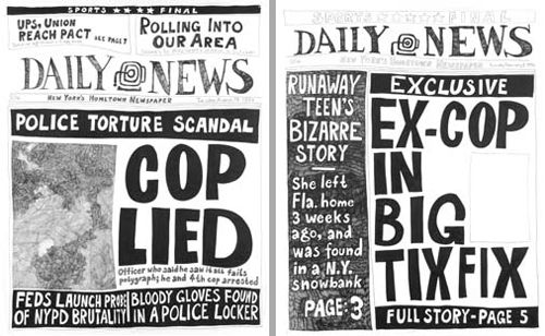 Alexandra Mir - Newsroom  In research for the show at the Mary Boone gallery in September-October 2007, three assistants and myself spent months in the NYC Public Library copying 10,000 covers of the two tabloids - the outcome of their combined cover stories of 15 years. From these, I selected around 200 that were particularly poignant, or which formed an ongoing narrative, but most importantly, that made me smile with recognition.