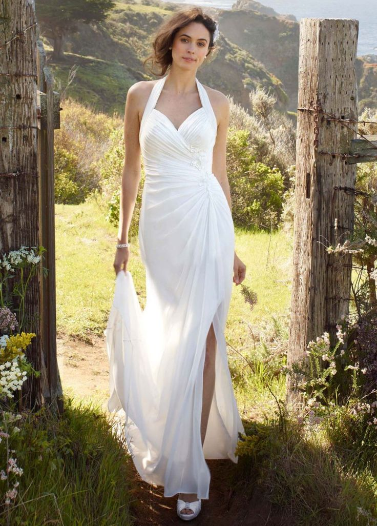 Chiffon gown with high slit and halter tie back david 39 s for Davids bridal cheap wedding dresses
