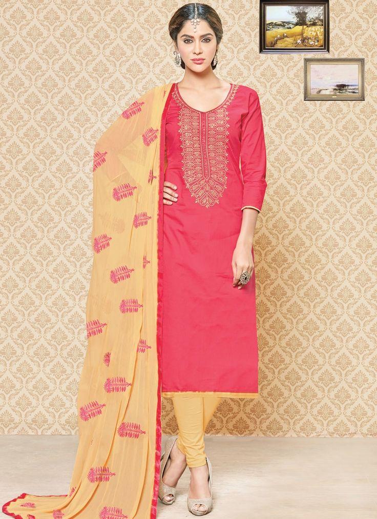 Pleasance Rose Pink Churidar Suit
