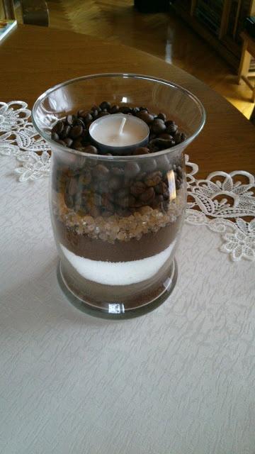 Kerzendeko mit Kaffee