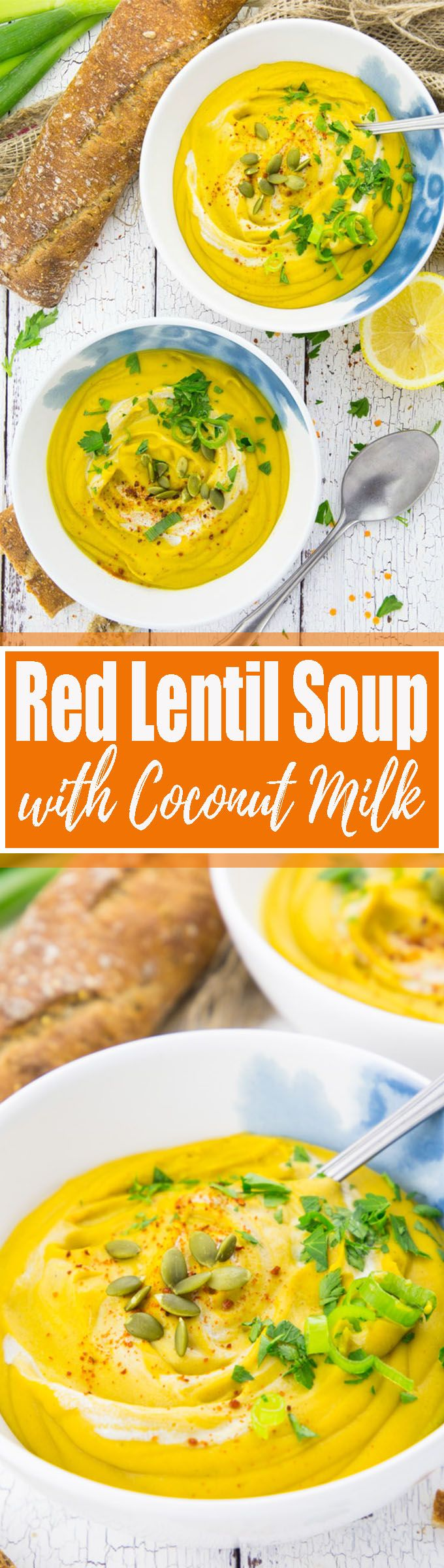 This vegan red lentil soup with coconut milk is perfect for colder fall days. The recipe is super easy and it's packed with protein and vitamins. It makes such an easy vegan dinner or you could even add it to your vegan Thanksgiving recipes! Find more vegan recipes at veganheaven.org <3