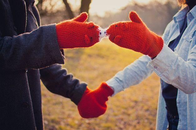 Rekawiczki dla pary lisy - WarmYourself - Ocieplacze na ręce