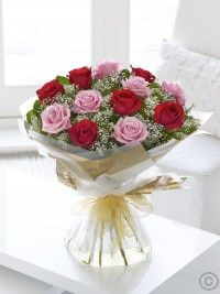 Heavenly Rose Pink and Red Rose Hand-tied