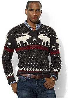 "Ralph Lauren Sport Women's XL Holiday Christmas Fair Isle Crest Wool Sweater. Armpit to armpit 23"" length 24"" Sleeves 26"