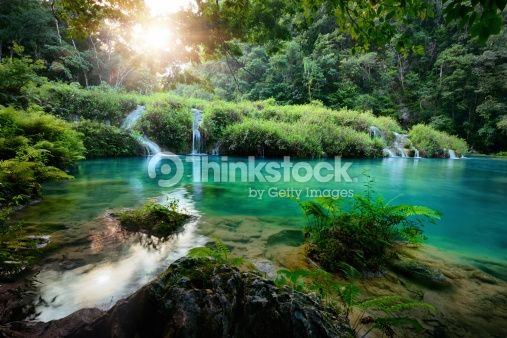 Stock Photo : Cascades National Park in Guatemala Semuc Champey at sunset
