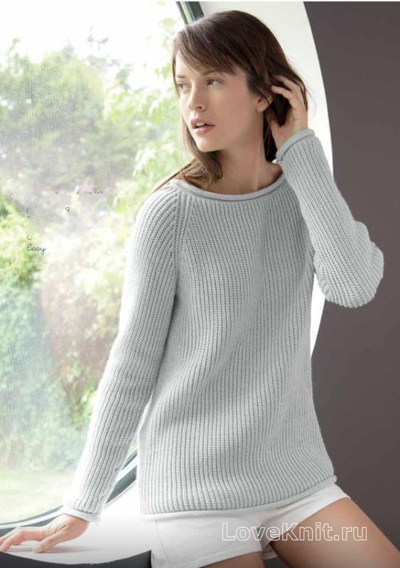Спицами удлиненный серый пуловер с рукавом реглан фото к описанию