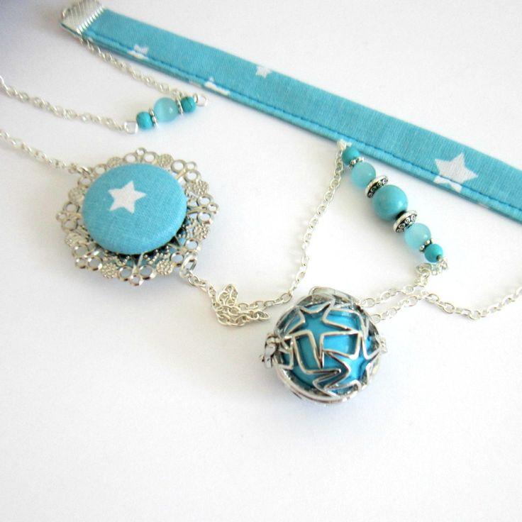 Bola de grossesse féérique bleu turquoise et argenté, cadeau femme enceinte, tissu coton, étoiles : Collier par color-life-bijoux