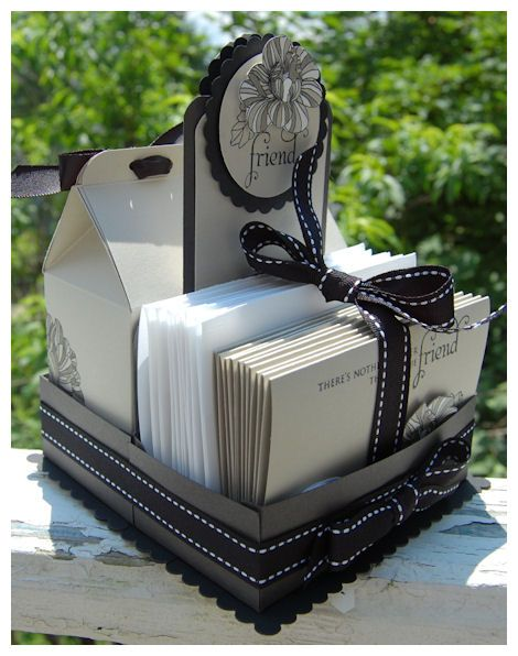 Gift of Cards, Envelopes and two matching milk cartons to hold, stamps, stickers and everything you want.  Very cool project!