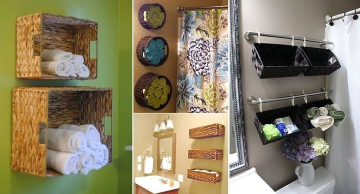 Various Baskets Hung On The Wall In A Bathroom For Storage...