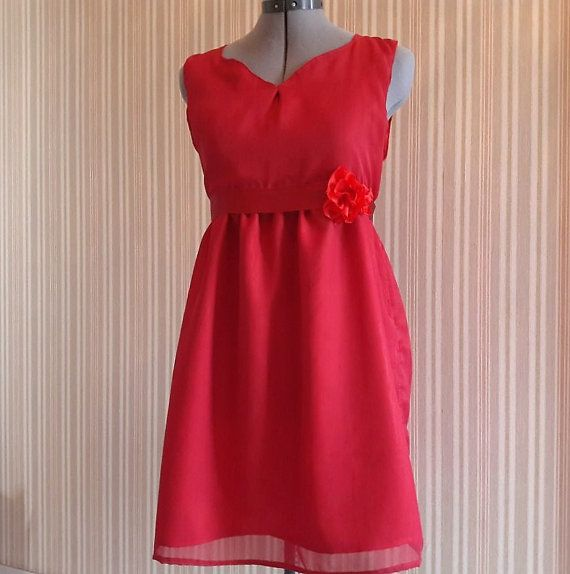 Red dress with rose detail  Bridesmaid / by KatelilleProductions