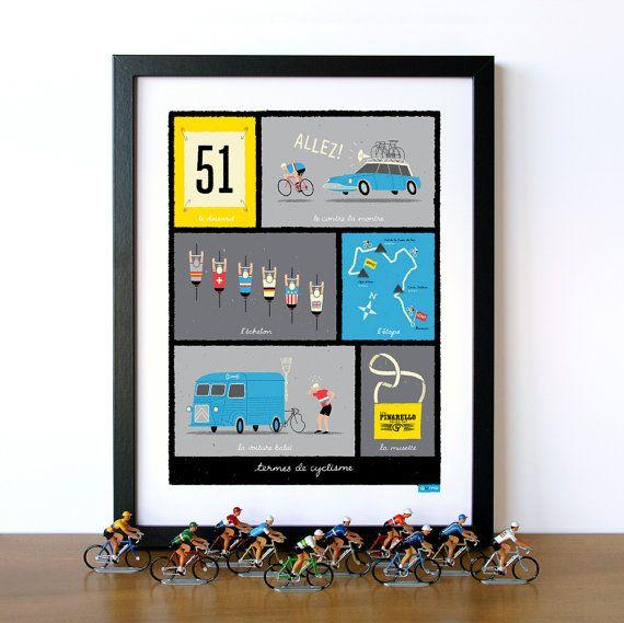 Arte de ciclismo Tour de France Terms de ciclismo francés