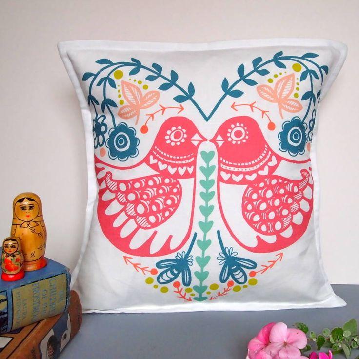 Folk Heart Birdie Cushion Cover