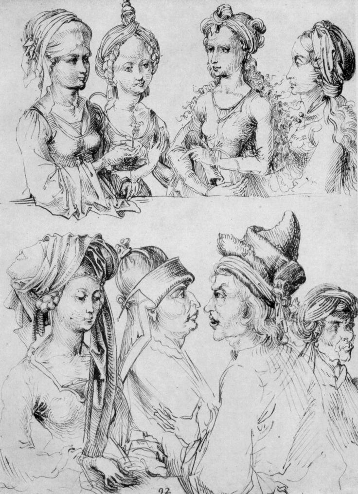 Schongauer, Martin (Kopist): Skizzenblatt mit acht Halbfiguren