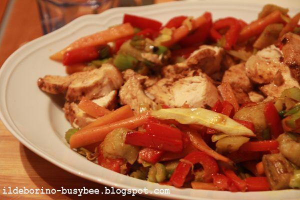 Pollo Cajun e Verdure Saltate Or Cajun Chicken and Stir-fry Veggies