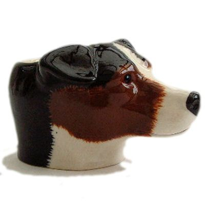 Jack Russell's Head Novelty Egg Cup in brown and white