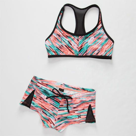 Hurley Static Girls Crop/Boyshort Bikini Set Multi In Sizes from Tilly's. Saved to Things I want as gifts.