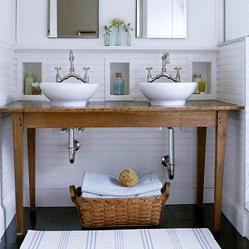 I Love This Idea Convert A Table Into A Bathroom Vanity Above The Counter S