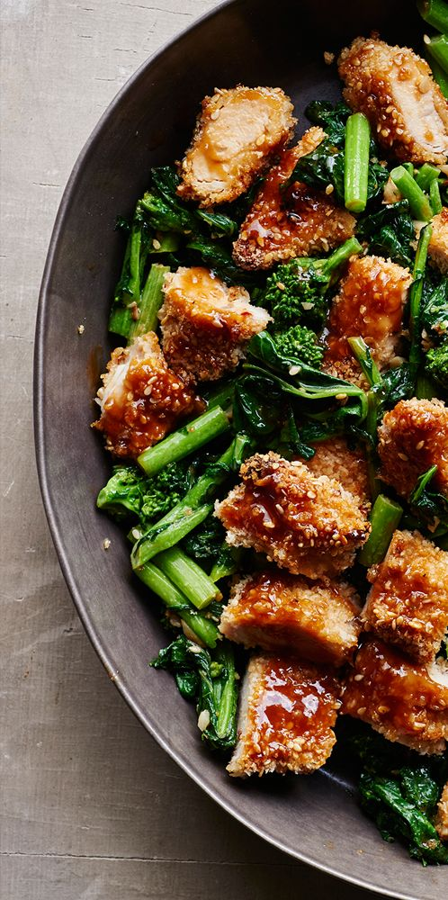 Garlic Sesame Broccoli Rabe with Panko Crusted Chicken