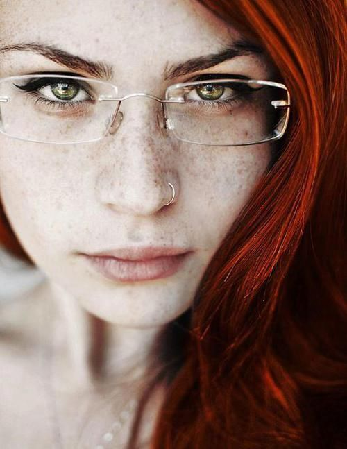 Redhead with glasses being naughty — photo 6