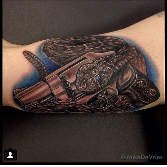 #2A, 2ndAmendment, gun and snake tattoo Gadsden flag, mike