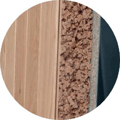 Bioconstrucción. Panel sandwich de madera con núcleo de aglomerado de corcho.  Caliplac.  www.panelsandwichdecubierta.com