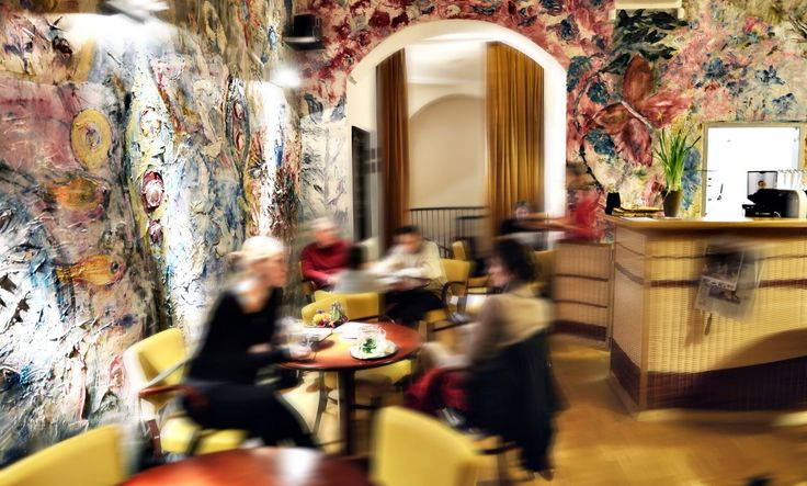 The staff is  really super with the kids. There´s a good corner filled with a small table and chairs, blocks, etc. however it isn´t portioned off and there´s really just one couch and table close-by. Prices are very reasonable, quality is high and the food, from couscous to cakes, is presented beautifully.#prague#child#baby#family#czech#cafe#fun