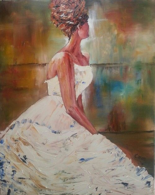 Lady in white. Oils. By Caren. Sold