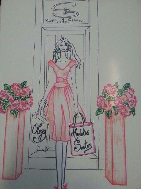 Dibujo moda shoping