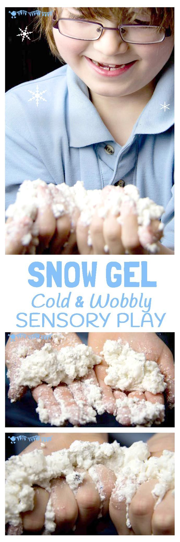 Cold, wobbly, sparkly Snow Gel; a wonderfully rich Winter sensory play experience.