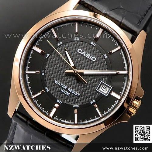Casio Rose Gold Leather Strap Quartz Mens Watch MTP-1376RL-1AV, MTP1376RL