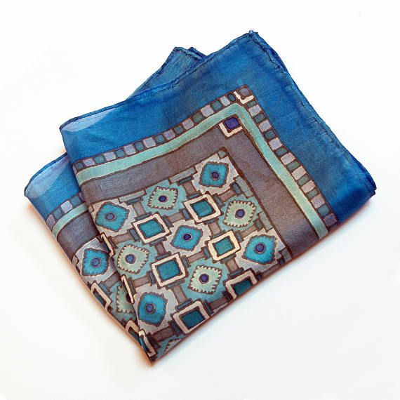 Blue pocket square silk gray hand painted wedding OOAK gift