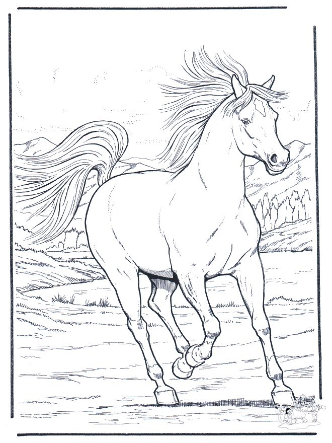 horse coloring pages | FunnyColoring.com / Animals coloring pages / Horses / Running horse