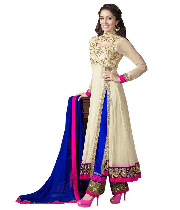 Indian Wear Cream Georgette Shraddha Kapoor Dress Material