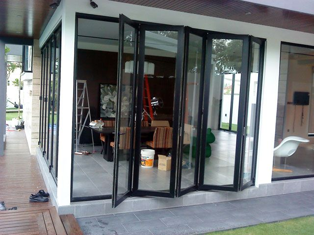Multi Folding With Five Panels Glass Staircase Railing Folding Doors Glass Staircase
