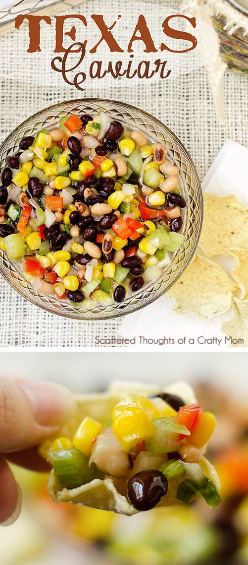 Texas Caviar (sweet corn and bean salsa) Awesome Potluck Side Dish!   With the addition of black eyed peas, its perfect for new years too.)