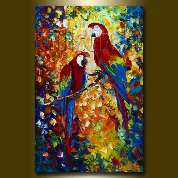 Parrot Modern Animal Oil Painting Textured Palette Knife Contemporary Original Art 24X36 by Willson Lau