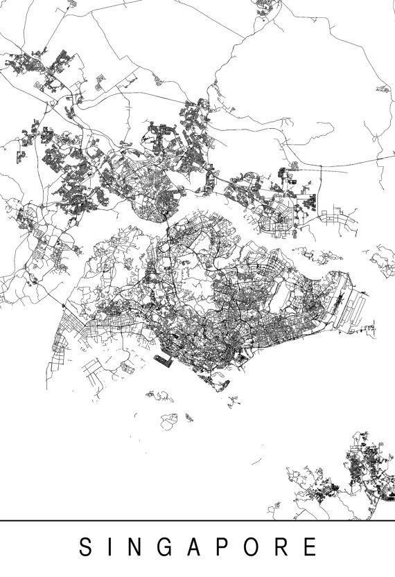 SINGAPORE MAP Minimalist Singapore Art by EncoreDesignStudios