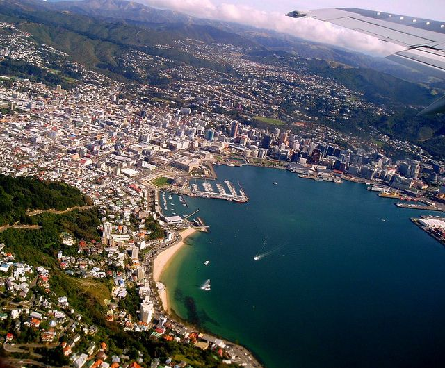 Wellington from air 15 Apr 2006 by Mark in New Zealand, via Flickr - taken on ascent, heading North