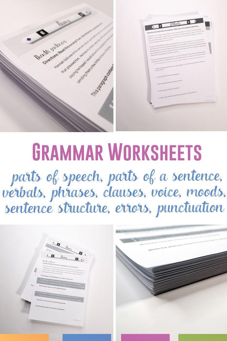 Grammar Worksheets Parts Of Speech Verbals Types Of