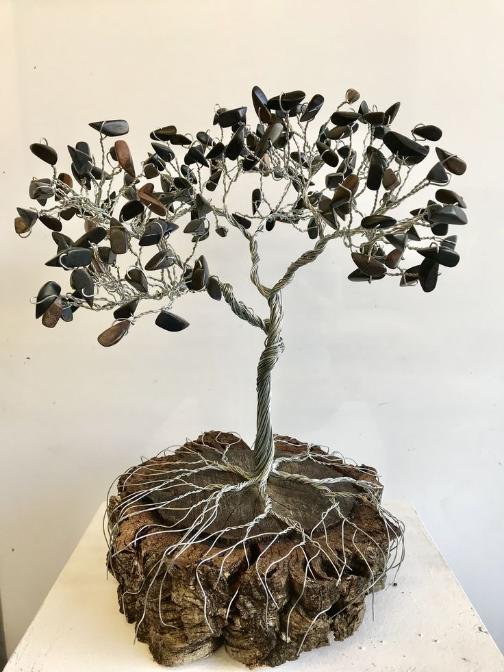 Wire tree, over foot tall, stump base- for sale! Handmade