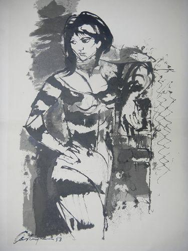 Nombre: Milonguita N° 82/300   Autor: Juan C. Castagnino   Técnica: Serigrafia   Alto: 65cm   Ancho: 45cm   Año: 1958