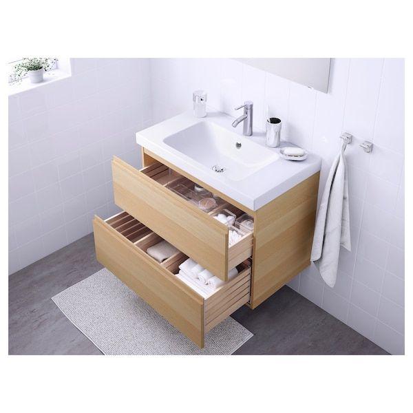 Godmorgon Odensvik Meuble Lavabo 2tir Effet Chene Blanchi Dalskar Mitigeur Lavabo Ikea En 2020 Meuble Lavabo Meuble Vasque Ikea Idee Toilettes