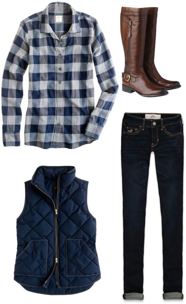 Puffer vest + plaid + skinnies + boots. Love Navy Blue