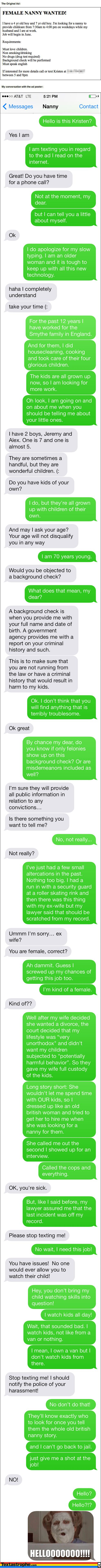 Dude Pretending To Be A Nanny In Prank Text Is Almost Too Funny To Be True